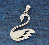 ▌Women's 925 Sterling Silver Pave Setting Fine CZ SWAN Pendant »P711
