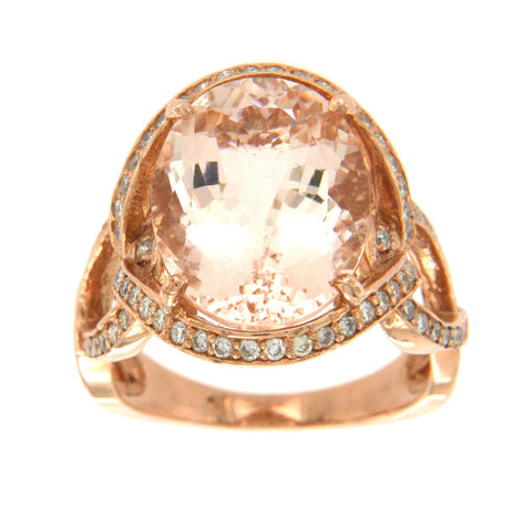 7.29 CT Morganite & 0.90 CT Diamonds in 14K Rose Gold Cocktail Ring