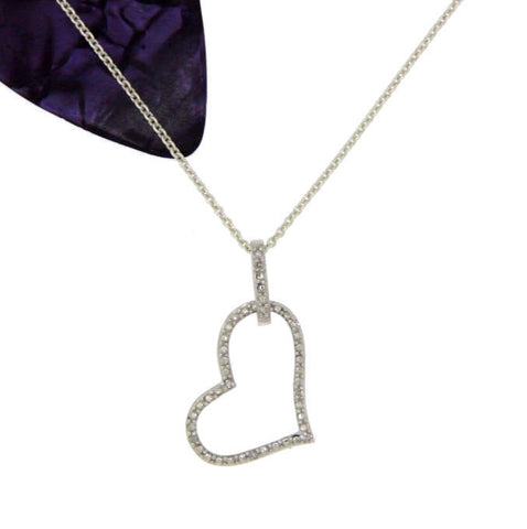 "¦Sterling Silver Studded &Diamond HEART Pendant With 18"" Chain Necklace » P421"