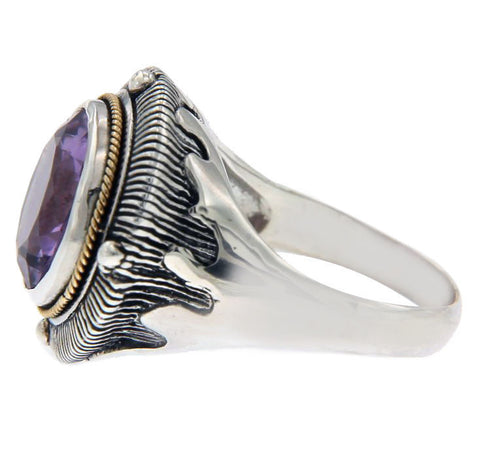 Solid Sterling Silver and 14 K Amethyst Ring » R24