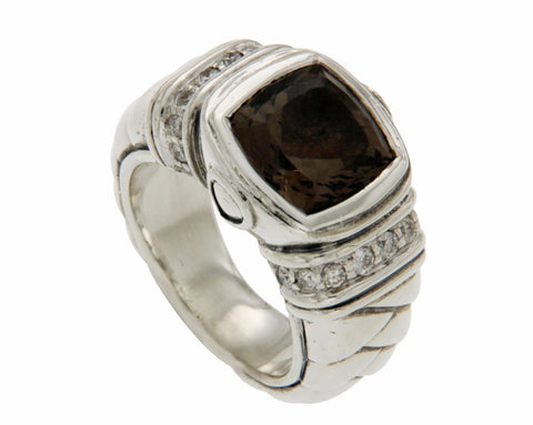 ¦Scott Kay 925 Sterling Silver Diamonds Smoke Topaz Ladies Ring Size 6.5 »U519