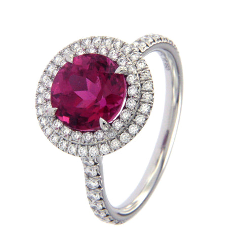 Tiffany & Co 650 Platinum Diamond 1.50 CT Rubellite Engagement Ring Siz 6 $8200