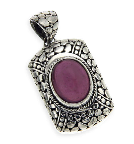 Solid Sterling Silver Pebble Bali Ruby Charm Pendant » P115