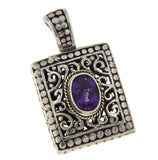 ¦Women's Sterling Silver&14K Gold Accent Amethyst Pendant  ANTIQUE DESIGN! »P515