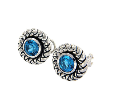 Authentic Scott Kay 925 Sterling Silver Blue Topaz Earrings »U21