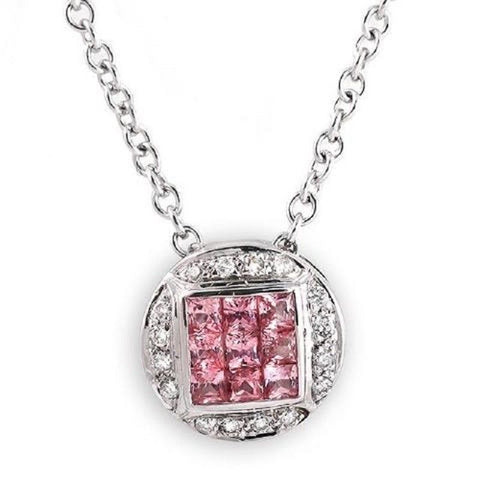 0.68 CT Natural Pink Sapphire & 0.10 CT Diamonds in 14K Gold Round Necklace 16""