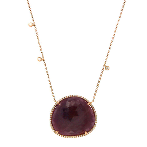 "Sliced 30.14 CT Ruby 0.35 CT Diamonds 14K Rose Gold Necklace Size 16""-18"""