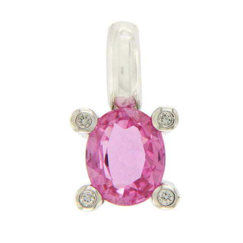0.98 Natural Pink Sapphire & 0.06 CT Diamond in 18K White Gold Pendant »BL17