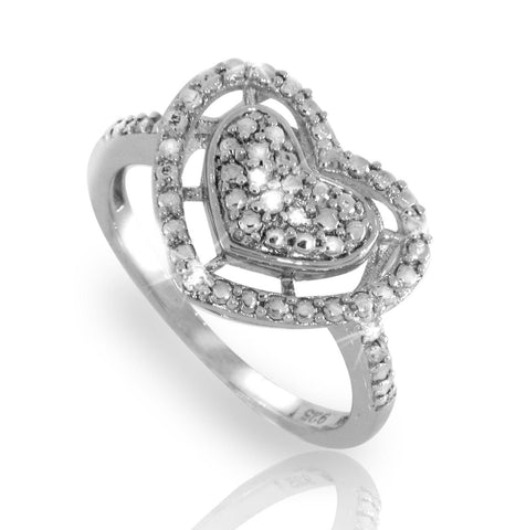 ¦Heart 925 Sterling Silver Diamond Ring »R221