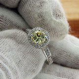 Solid Sterling Silver Yellow CZ Engagement Ring»R39