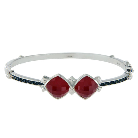 "Stephen Webster 925 Silver Red Coral & Black Sapphire Haze Bracelet 6.5"" $850"