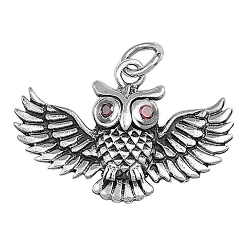 925 Sterling Silver Red CZ Eyes Owl Luck Pendant »P712