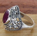 Women's Solid Sterling Silver Ruby Flower Die-Cut Bali Ring»R316 ANTIQUE DESIGN!