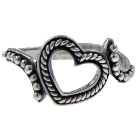 925 Sterling Silver Heart Die Cut Ring Size 7.5 »R14