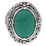 Solid 925 Sterling Silver Turquoise Cluster Flower  Ring» R121