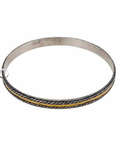 "¦Authentic GURHAN Silver Yellow Gold Lancelot Bangle Size Small 8"" »$ 350"