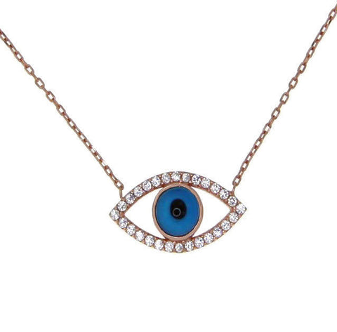 "▌Women's 925 Sterling Silver Evil Eye CZ Pendant Necklace 16""to 18"" » P519"