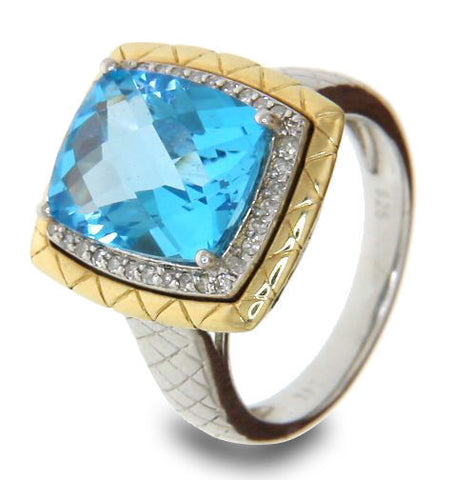 Solid Sterling-Gold Accent Diamond & Lab Blue Topaz Engagement Ring » R31