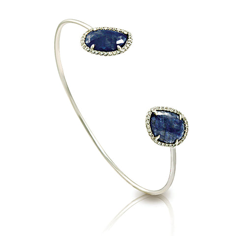 Sliced 5.78 CT Natural Blue Sapphire 0.35 CT Diamonds 14K White Gold Bangle