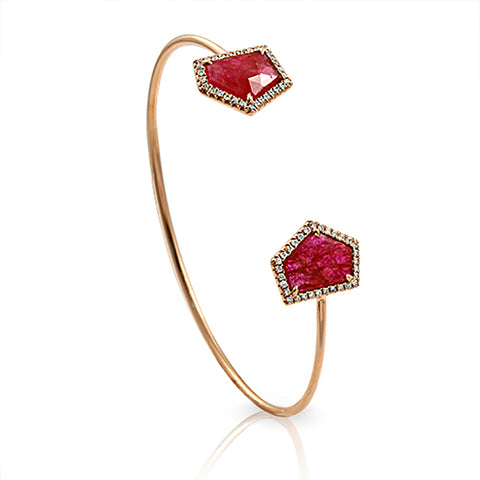 Rose Cut Sliced 5.56 CT Ruby 0.36 CT Diamonds 14K Rose Gold Bangle