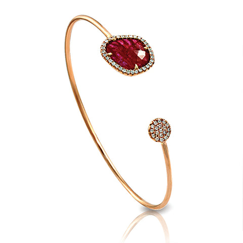Rose Cut Sliced 2.98 CT Natrual Ruby 0.30 CT Diamonds 14K Rose Gold Bangle