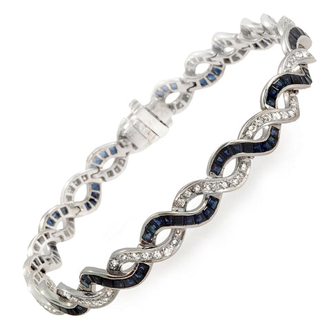 9.59 CT Natural Blue Sapphire & 0.86 CT Diamonds 18K White Gold Bracelet 7""