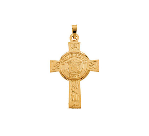 Fine 14kt Yellow Gold U.S. Navy Cross 28.5 MM Height Pendant