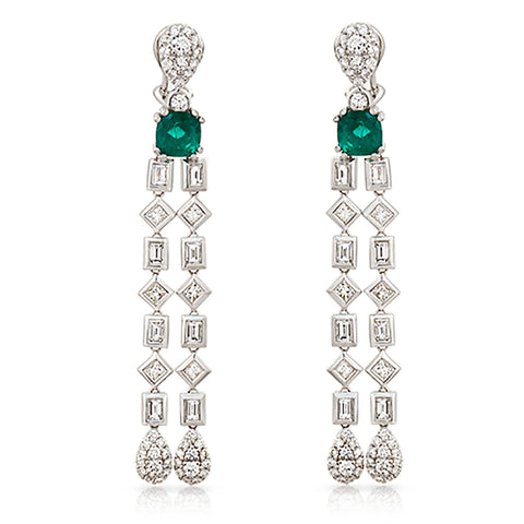 1.57 CT Natural Emerald & 3.95 CT Diamonds in 18K White Gold Drop Earrings