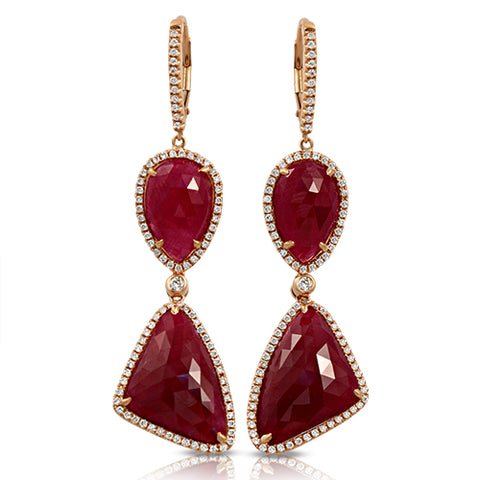 Rose Cut Sliced 29 CT Natural Ruby 0.96 CT Diamonds 14K Rose Gold Drop Earrings