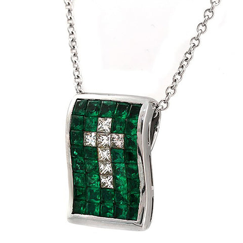 Invisible Set 0.73 CT Diamonds 2.66 CT Colombian Emerald 14K Gold Cross Necklace 16""