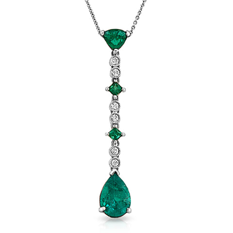 "0.12 CT Diamonds 2.20 CT Colombian Emerald 14K White Gold Drop Necklace 16""-18"""