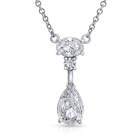 14K White Gold 2.01 CT Diamonds Tear Drop Necklace 18""