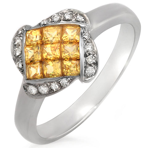 0.12 CT Round Diamonds & 1.02 Yellow Sapphire 18K White Gold Flower Ring