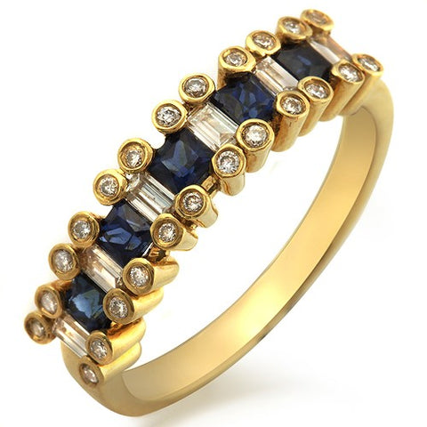 0.92 Blue Sapphire & 0.30 CT Diamonds in 18K Gold Wedding Band Ring