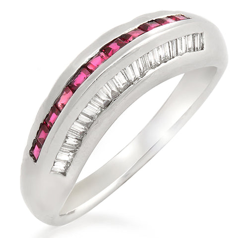 0.38 Ruby & 0.27 CT Diamonds in 18K Gold Wedding Band Ring