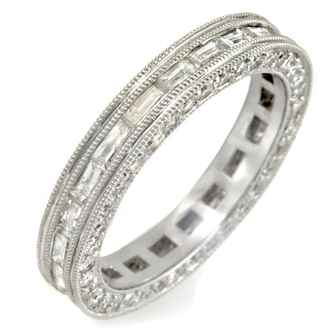 1.65 CT Baguette & Round Diamonds G SI1 in 14K White Gold All Round Wedding Band Ring