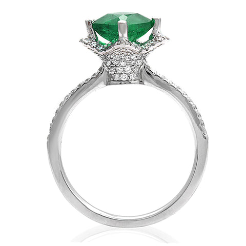 1.31 CT Colombian Emerald & 0.46 CT Diamonds in 18K Gold Engagement Ring