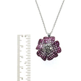 14K Gold 0.37 CT Diamonds 18.20 CT Invisible Set Pink Sapphire Flower Necklace 1