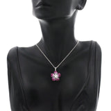 0.32 CT Diamonds 7.90 CT Invisible Set Pink Sapphire 14K Gold Flower Necklace 16