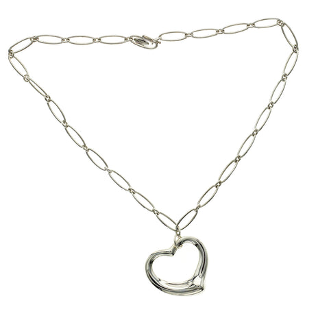 "Tiffany & Co ELSA PERETTI Large Sterling Silver Open Heart Necklace Size 16""»U215"