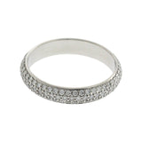 18K White Gold Pave 1.10 CT Diamond Wedding Band Eternity Ring  Size 8.5