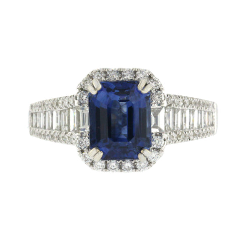2.78 CT Ceylon Sapphires & 1.34 CT Diamonds in 18K White Gold Engagement Ring