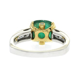 3.20 CT Zambian Emerald & 0.94 CT Diamonds in 18K Gold Engagement Ring