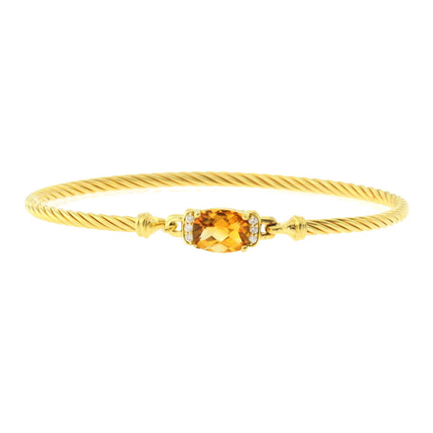 David Yurman Yellow 18K Gold Citrine & Diamond Wheaton Bracelet Size 6.5""