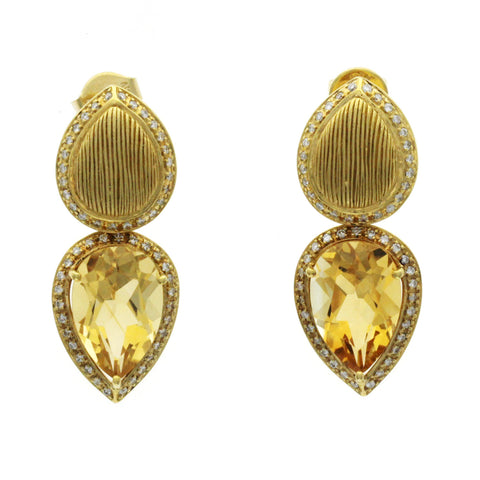 10.50 CT Citrine & 0.78 CT Diamonds in 18K Yellow Gold Teardrop Earrings