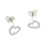 Auth Tiffany & Co. 18K White Gold Diamonds Heart Stud Earrings »U59