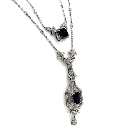 "3.20 CT Diamonds 7.05 CT Blue Sapphire 18K White Gold Drop Necklace 16""-18"""