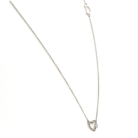 "Auth DAMIANI 18K White Gold Diamond D Icon Heart Necklace Size 16""-18"" $948"