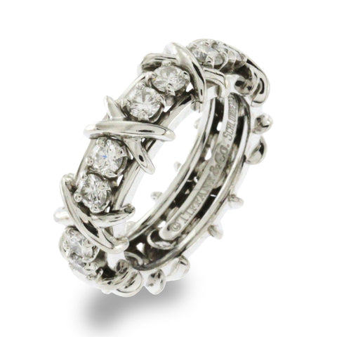 Au Tiffany & Co. Schlumberger Studios 16 Diamonds Platinum Ring Size 5.5 $9900