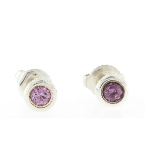Tiffany & Co. 925 Sterling Silver Pink Sapphire Elsa Peretti By The Yard Stud Earrings
